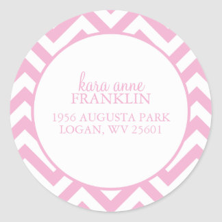 Sweet Chevron Personalized Round Address Labels Classic Round Sticker