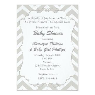 Sweet Chevron White & Grey Baby Shower Invitation