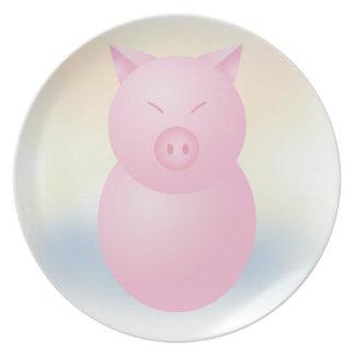 Sweet Chibi Piggy Decorative Plate