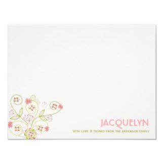 Sweet Chic Pink Blooms Baby Shower Thank You 4.25x5.5 Paper Invitation Card