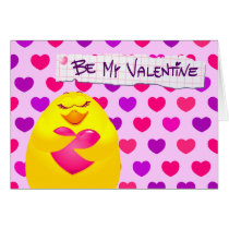 Sweet chick in love with message, greeting card