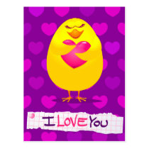 Sweet chick in love with message, postcard