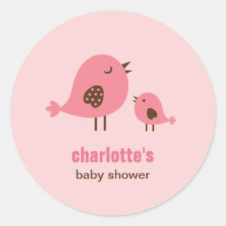 Sweet Chicks Baby Shower Favor Sticker - Pink Round Stickers