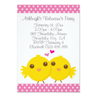 Sweet Chicks in Love Pink Kids Valentines Party Card