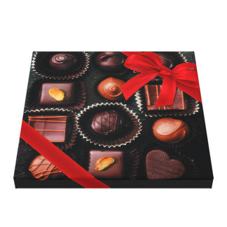 Sweet Chocolate Assortment with Red Bow 2 Gallery Wrapped Canvas