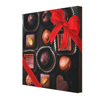 Sweet Chocolate Assortment with Red Bow Gallery Wrap Canvas
