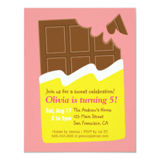 "Sweet Chocolate Bar Candy Birthday Party 4.25"" X 5.5"" Invitation Card"