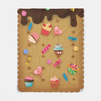 Sweet chocolate cracker candy fleece blanket