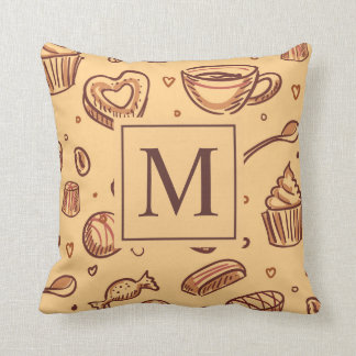 Sweet Chocolate Desserts Monogram | Throw Pillow
