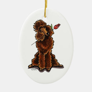 Sweet Chocolate Poodle Valentines Ceramic Ornament