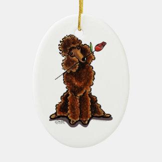 Sweet Chocolate Poodle Valentines Ceramic Ornament