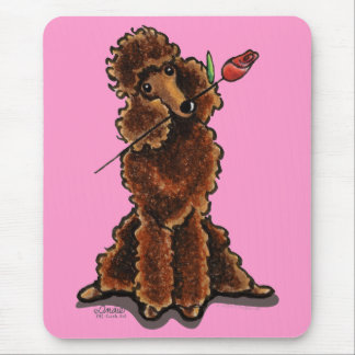 Sweet Chocolate Poodle Valentines Mouse Pad