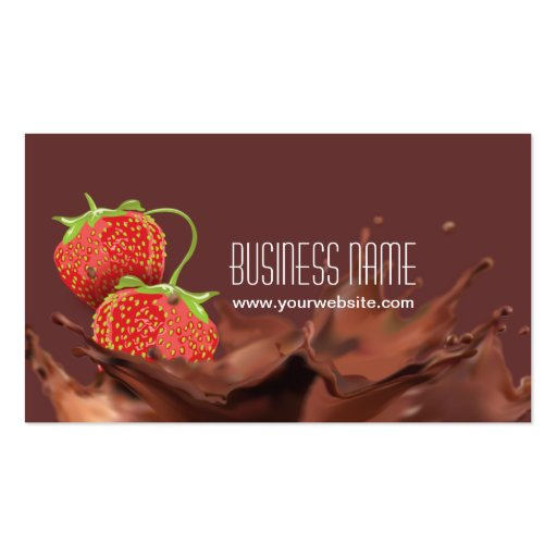 Sweet Chocolate & strawberries Business Card (front side)