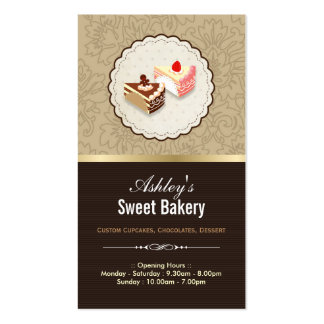Sweet Chocolates Cupcakes Dessert - Bakery Shop Double-Sided Standard Business Cards (Pack Of 100)