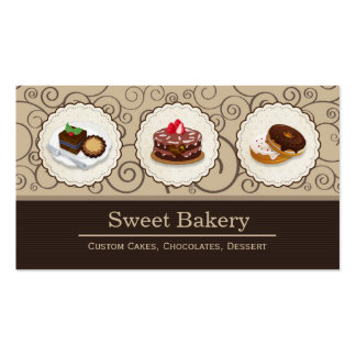Sweet Chocolates - Custom Cakes Cupcakes Dessert Double-Sided Standard Business Cards (Pack Of 100)