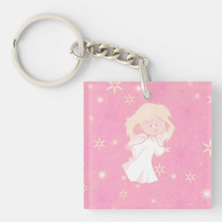 sweet christmas angel pink square acrylic key chain