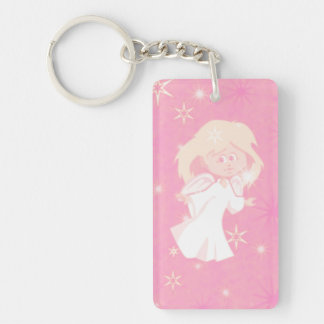 sweet christmas angel pink acrylic keychain