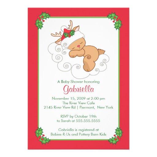 Sweet Christmas Baby Shower Invitation Baby Deer | Zazzle