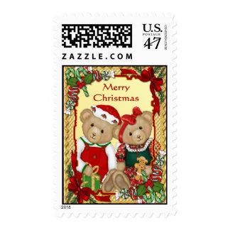 Sweet Christmas Bears Postage Stamp