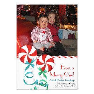 Sweet Christmas Candy Photo Card Personalized Announcement