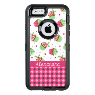Sweet Christmas cupcakes and pink dots name OtterBox Defender iPhone Case