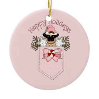 Sweet Christmas Holiday Pug Pocket Gifts ornament