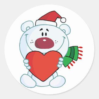 Sweet Christmas Polar Bear Holding A Heart Classic Round Sticker