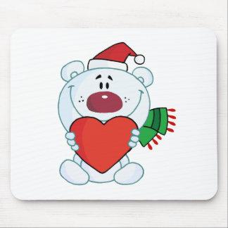 Sweet Christmas Polar Bear Holding A Heart Mouse Pad