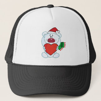Sweet Christmas Polar Bear Holding A Heart Trucker Hat