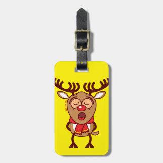 Sweet Christmas reindeer singing Luggage Tag