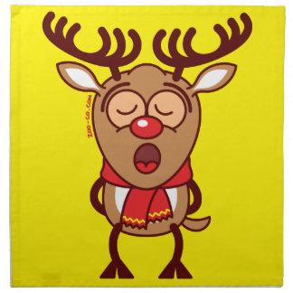 Sweet Christmas reindeer singing Napkins