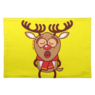 Sweet Christmas reindeer singing Cloth Placemat