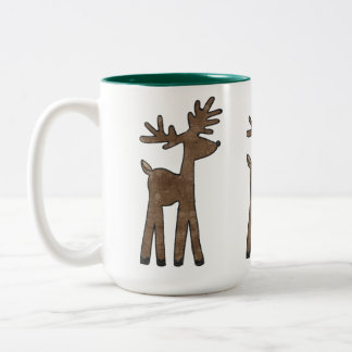 Sweet Christmas Reindeer Two-Tone Coffee Mug