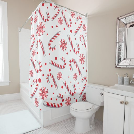 Sweet Christmassy Candy Bar Pattern Shower Curtain
