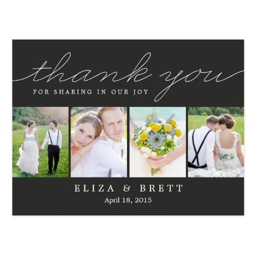 Wedding Thank You Postcards: Sweet Collage Wedding Thank You Card