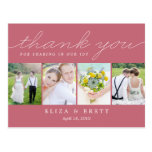 Sweet Collage Wedding Thank You Card - Pink Post Cards