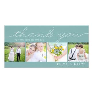 Sweet Collage Wedding Thank You Cards - Aqua