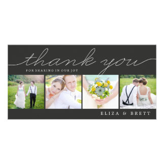Sweet Collage Wedding Thank You Cards - Charcoal Photo Card