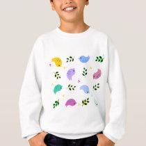 Sweet Colorful Birds Pattern Sweatshirt