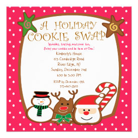 Sweet & Colorful Holiday Cookie Swap Invitations