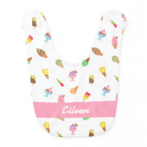 Sweet Colorful Ice Cream Pattern For Baby Girls Baby Bib