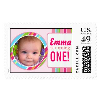 Sweet Colorful Stripes Customizable Postage Stamp