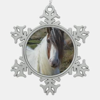 Sweet Connemera Pony Snowflake Pewter Christmas Ornament