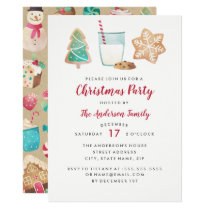 Sweet Cookies And Milk Christmas Party Invitation