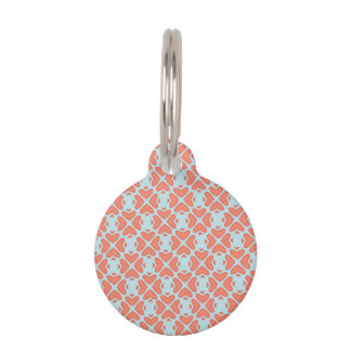 Sweet Coral Pink Heart Pattern on Sky Blue Pet Name Tag
