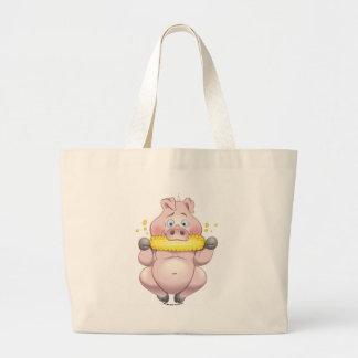 Sweet Corn hungry Pink Piggy BBQ fun Jumbo Tote Bag