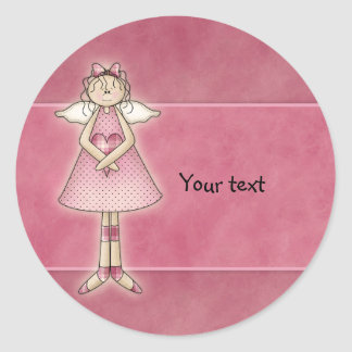 Sweet Country Angel with Heart Classic Round Sticker
