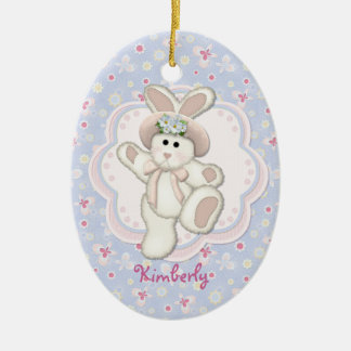 Sweet Country Bunny Ceramic Ornament