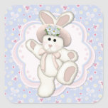 Sweet Country Bunny Square Sticker