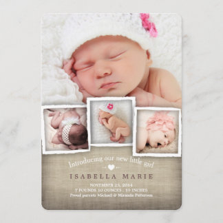 Sweet Country Burlap Baby Girl Birth Announcement